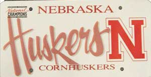 Nebraska Husker license plate from 1997-1999