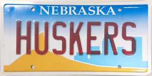 Nebraska license plate from 1999 - 2001