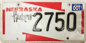 Nebraska Husker license plate from 1999-2001