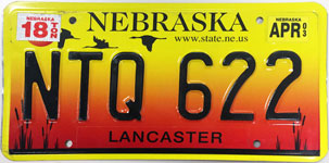 Nebraska license plate from 2002-2004
