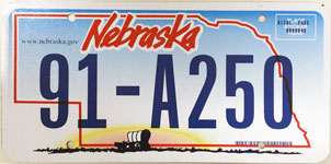 Nebraska license plate from 2005-2010