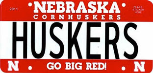 Sample Nebraska 2011-2016 Husker Vanity Plate