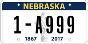 Nebraska license plate from 2017-2022