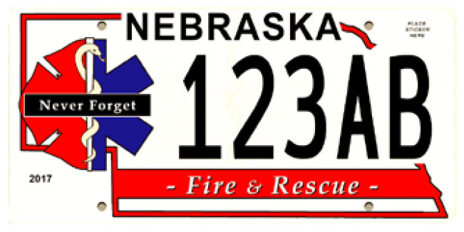 Sample Nebraska Nebraska Serious Injury & Line-of-Duty Death Response Team license plate