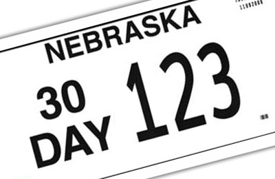 Nebraska non-resident 30 day license plate
