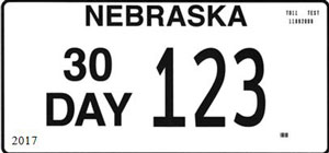 Sample Nebraska non-residend 30 day license plate