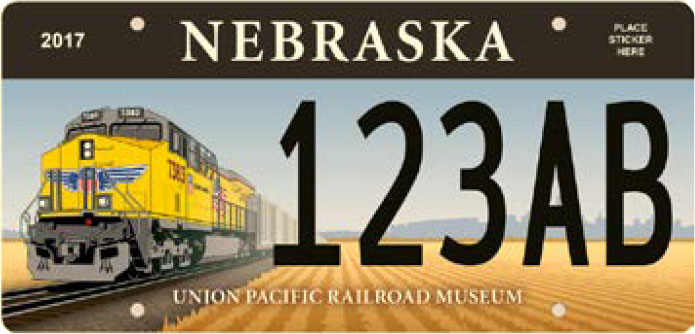 Sample Nebraska Friends of the Union Pacific RR Museum license plate