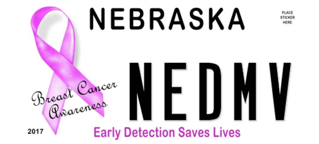 "Nebraska Breast Cancer Awareness license plate with ""NEDMV"" on it"