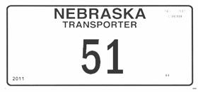 Sample Nebraska Transporter license plate