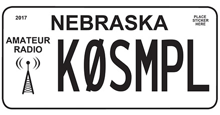 Nebraska Amateur Radio license plate example