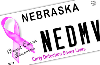 Nebraska Breast Cancer Awareness license plate