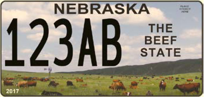 Sample of the Nebraska beef state license plate