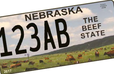 "Nebraska ""The Beef State"" license plate"