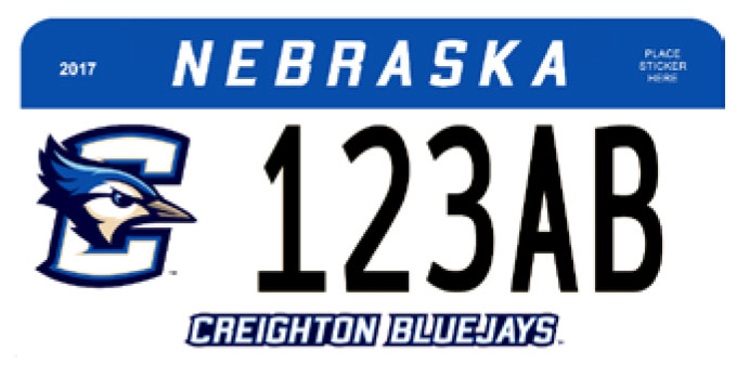 sample Nebraska Creighton License plate