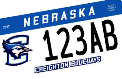 Nebraska Creighton University license plate