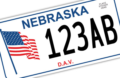 Nebraska disabled american veteran license plate