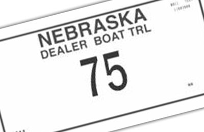 Nebraska Boat Dealer Trailer plate