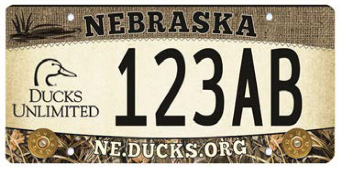 sample Nebraska Ducks Unlimited license plate
