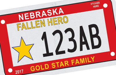 Nebraska Fallen Hero Gold Star Family license plate