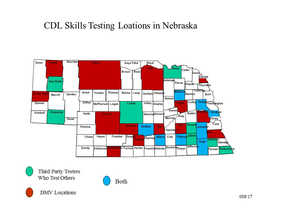 Cdl testing nebraska department of motor vehicles for Third party motor vehicle division