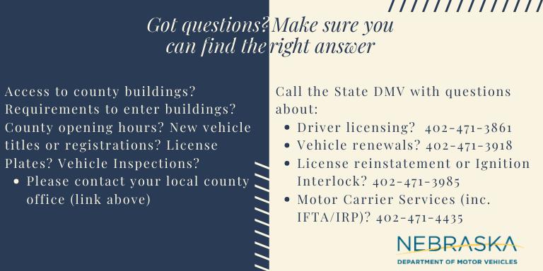 Latest Information On Dmv Services Nebraska Department Of Motor Vehicles
