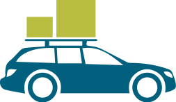 car with moving boxes on top icon