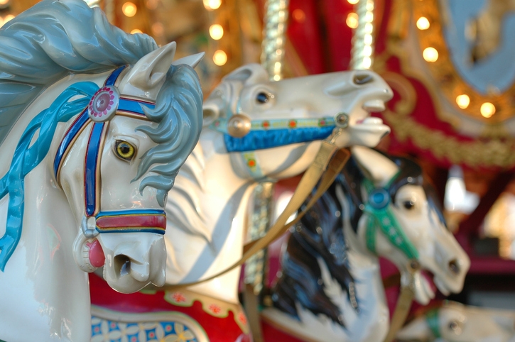 horses on merry-go-round ride