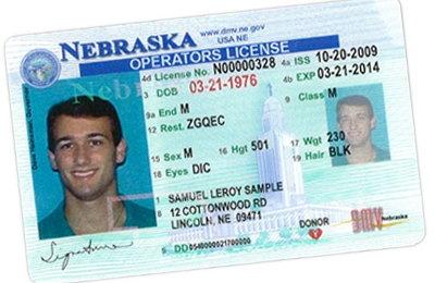 sample Nebraska Operator's Permit (Driver's License)