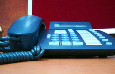 black desk office phone