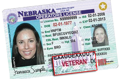 sample Nebraska Driver's License with Veteran Designation