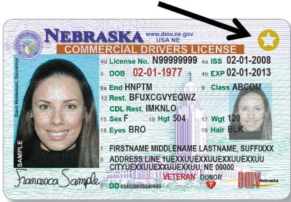 driver's license example with gold star in top right corner