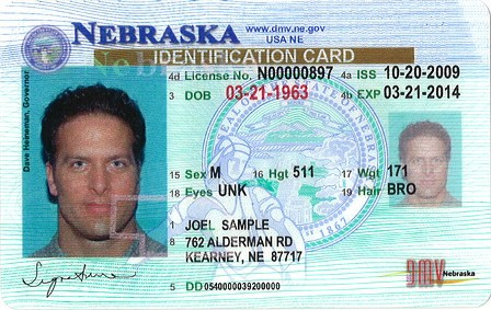 sample Nebraska ID license