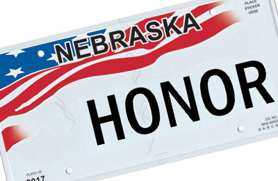 Nebraska Miliary honor license plate with no military branch pictured