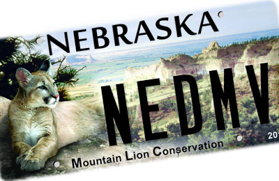 Nebraska Mountain Lion license plate
