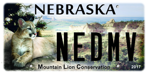 "Sample Nebraska Mountain Lion Conservation license plate with ""NEDMV"" on it"