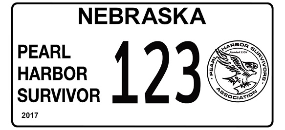 Nebraska Pearl Harbor Surviror license plate