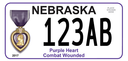 Nebraska Purple Heart License Plate