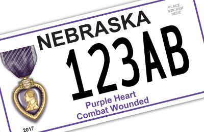 Nebraska Purple Heart license plate
