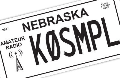 Nebraska amateur radio license plate
