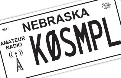 Nebraska amateur radio license plate