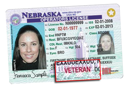Nebraska drivers license sample with veteran designation