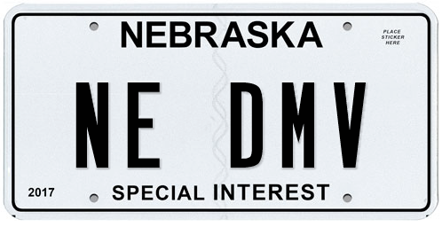 "Nebraska Special Interest license plate with ""NE-DMV"" on it"