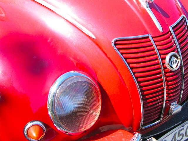 hood of red classic german car