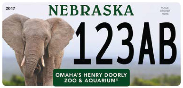 Sample Nebraska Henry Doorly Zoo license plate